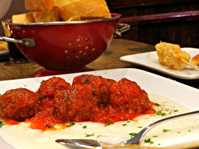 Polpette with tomato sauce & polenta
