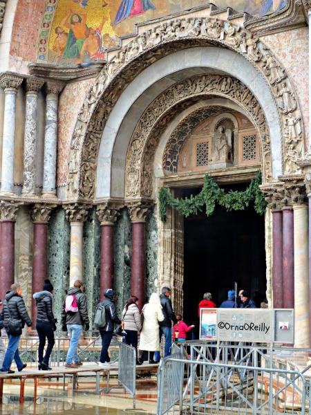 Queuing for Basilica of San Marco, Venice, during Alta Aqua