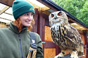 Jamie with Dingle, the Eurasian Eagle Owl