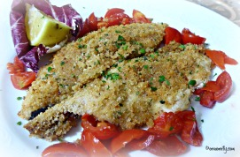 Breaded sea bass