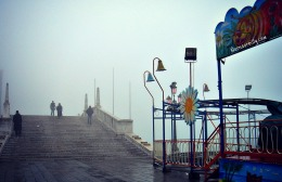 Along the Riva Schiavoni in foggy winter