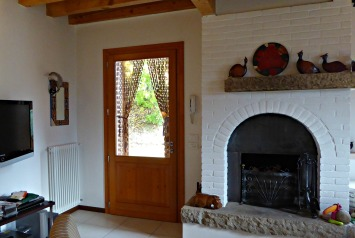Fireplace and front door