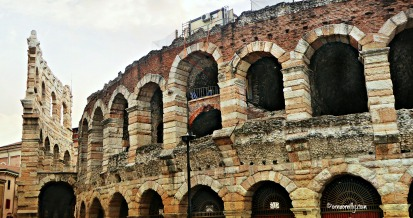 Arena showing remains of curtain wall