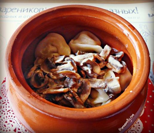 Siberian Pelmini in white mushroom sauce