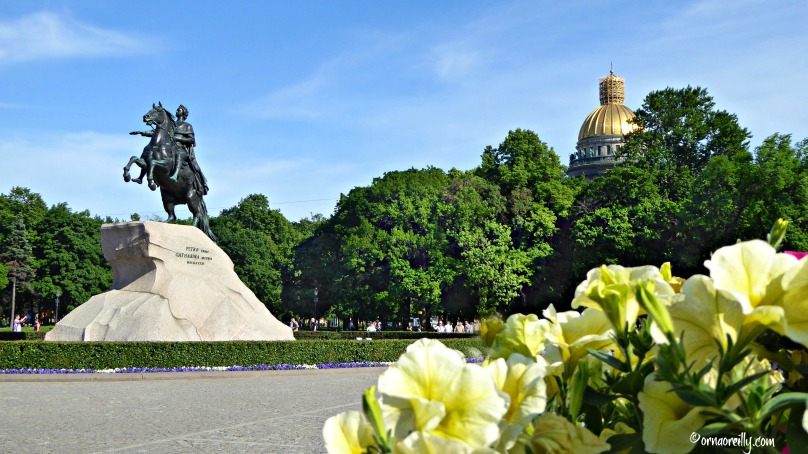 Peter the Great Monument (The Bronze Horseman) and St. Isaac Cathedral