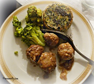 Polpette with broccoli and spinach flan