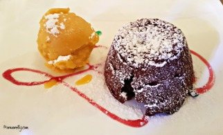 Chocolate fondant and orange gelato at La Piazzetta in Ostuni