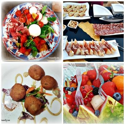 Salads, meats, polpette, fruit