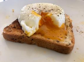 Freshly laid, poached egg.